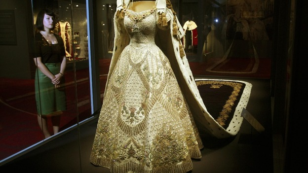 The Queen\u0027s Coronation Dress and Robe on display at Buckingham Palace.
