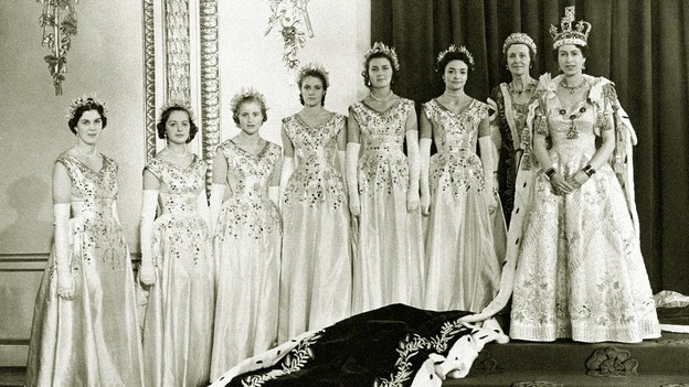 The Queen at Buckingham Palace with her maids of honour after her coronation  in Westminster Abbey
