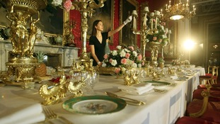 Tables from the two Coronation banquets staged at Buckingham Palace have been recreated.