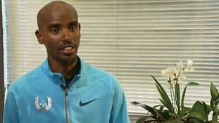 Double Olympic champion Mo Farah speaking exclusively to ITV News.