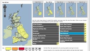 "The Met Office has issued a ""yellow"" warning for flooding this weekend in the Midlands"