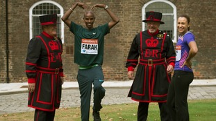 Olympic champions Mo Farah and Jessica Ennis-Hill pose for pictures at the Tower of London.