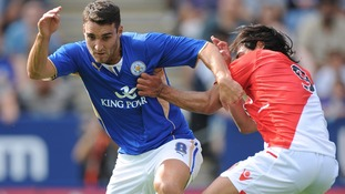Leicester City's Matty James and AS Monaco's Radamel Falcao battle for the ball