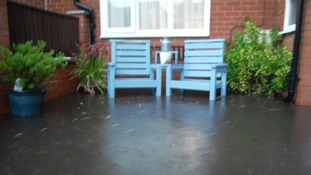 The garden of this house in Swadlincote is completely under water