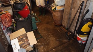 Flooding at a house in Thurnby, Leicestershire