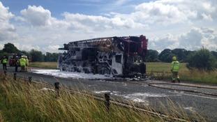 Crane and HGV fire