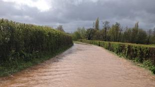 flooded road near Taunton