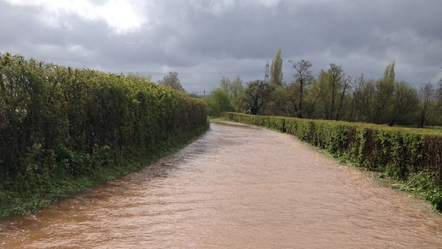 flooded road near Taunton