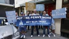 Coventry City fans protest outside the offices of SISU Capital in Red Place, London.