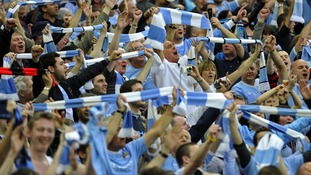 Manchester City fans during  the Manchester derby at Wembley last year