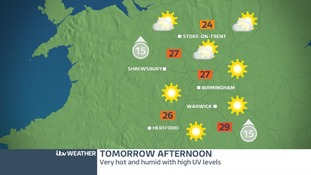 Tomorrow should be much hotter with high UV levels