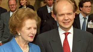 Margaret Thatcher and William Hague in 1997, when he was a Conservative Party leadership contender.