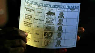 A ballot paper with images of all Zimbabwean presidential candidates.