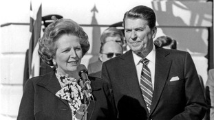 Margaret Thatcher and Ronald Reagan during an official White House visit