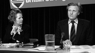 Margaret Thatcher and Michael Heseltine in May 1983 at a Conservative Party press conference.