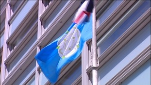 The Yorkshire flag flown upside down at a government building in London