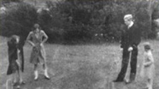Princesses Elizabeth & Margaret Rose & Prince Philip playing croquet in 1939