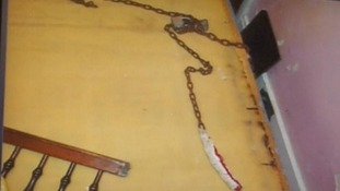 A chain in the room that Gina DeJesus and Michelle Knight shared.