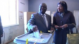 Prime Minister Morgan Tsvangirai casts his vote at yesterday's polls.