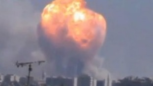 Huge fireball erupts over Syrian city of Homs