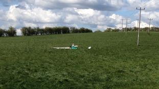 Glider crashed in Bedfordshire