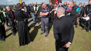 gie Bancroft, centre, at the service at the Angel of the North.