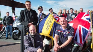 Bikers Medwyn Parry and Dougie Bancroft with Rev David Glover and members of the British Legion.