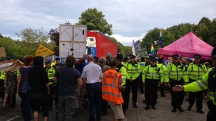 Protestors blocking lorry