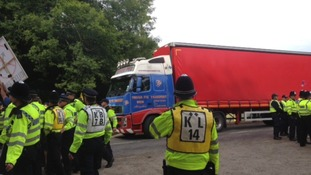police escorting lorry