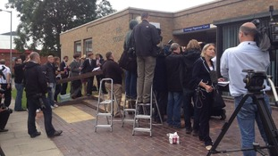 Media gather outside Stevenage Magistrates Court