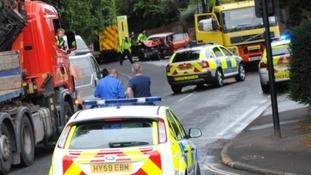 police at scene of car crash