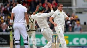 Peter Siddle, right, celebrates the dismissal of Kevin Pietersen at Old Trafford