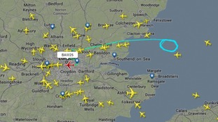 Flight BAW25 had circled near the Essex coast before returning to Heathrow.