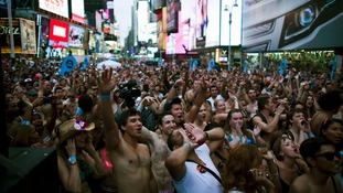 Mass crowds participated in the event held in Times Square.