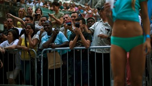 Crowds gathered to catch a glimpse of the scantily-clad, future world record breakers.