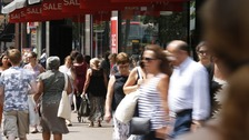 Shoppers in central London during the warm weather