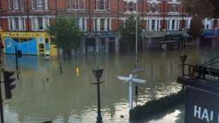 London Fire Brigade said the water is one metre deep in some places.