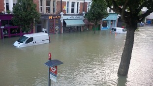 Van left submerged after the floods in Herne Hill