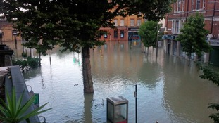 Resident captures the damage done by flooding from his window