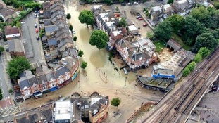 The Met Police helicopter took this aerial photo of the flooding in Herne Hill