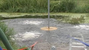 A lake being oxygenised using River Rover aeration equipment.