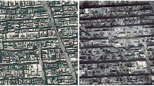 Densely populated Tariq al-Bab district before and after the missile strike.