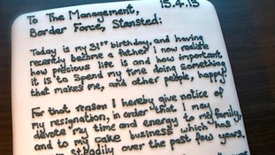 Chris Holmes resignation letter written on a cake.