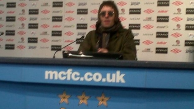 Liam Gallagher in the press centre after the game