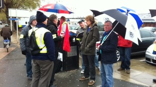 Train drivers from ASLEF on strike at Derby railway station