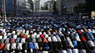 Thousands of believers take part in morning prayers in Moscow, Russia