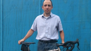 Cyclist Simeone  Diaz, who was injured when he was deliberately knocked from his bike by a passing car