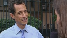New York City mayoral candidate Anthony Weiner with Daybreak's Lucy Watson.