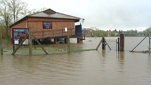 A local cricket pitch in Tewkesbury lays submerged