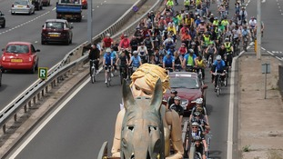 The puppet is powered by around 100 cyclists